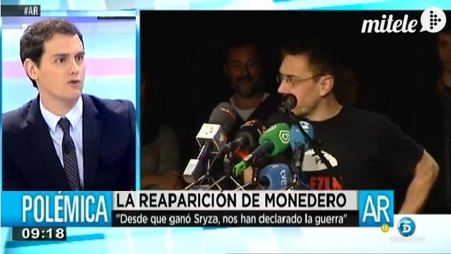 """Albert Rivera deja como un trapo a Monedero: """"Para escapar de los periodistas ya tenemos a Rajoy"""""""
