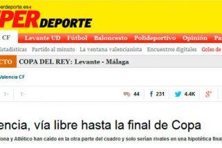 """Twitter se cachondea del diario ultra 'Superdeporte' por asegurar que """"el Valencia tenía vía libre hasta la final"""" de Copa"""