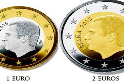 Entran en circulación las monedas de 1 y 2 euros con la imagen de Felipe VI