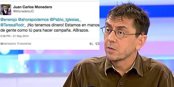 """Monedero, con 700.000 euros en el banco, pedía la colaboración de sus votantes porque """"¡no tenemos dinero!"""""""