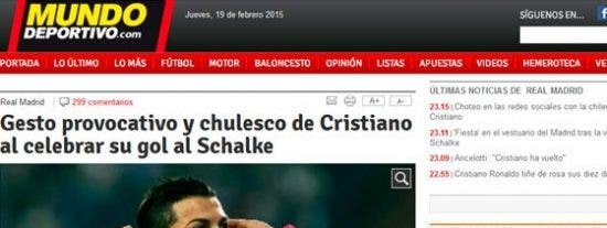 La prensa catalana despelleja a Ronaldo por sus gestos al celebrar su gol ante el Schalke