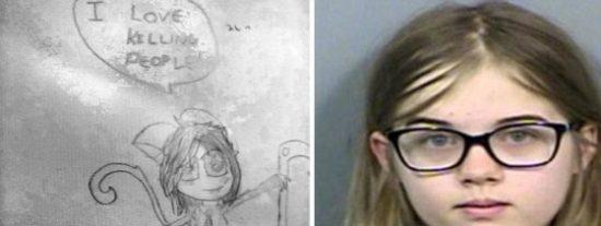 """Los terroríficos dibujos de la niña asesina de 12 años: """"Me gusta matar"""""""