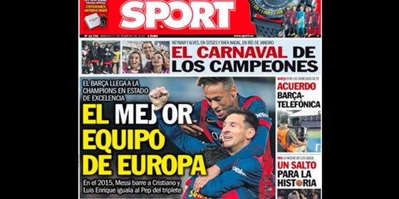 Sport da rienda suelta a su forofismo y pone al Barça como el mejor de Europa sin haber jugado los octavos aún