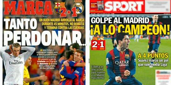 Dos maneras de analizar el Clásico: la prensa de Barcelona se fija en el resultado y la de Madrid en el juego