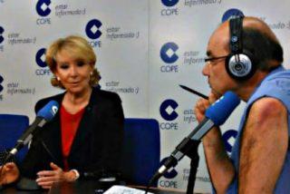 """Escucha y ve la bronca de Esperanza Aguirre a Ángel Expósito en la COPE: """"Si hablan, yo no me concentro"""""""