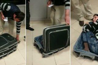 El insólito vídeo de la mujer que intenta pasar la frontera metida en una maleta