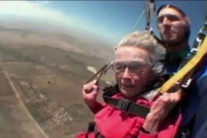 [Vídeo] La arrojada anciana de 100 años se lanza en paracaídas y ahora busca tiburones