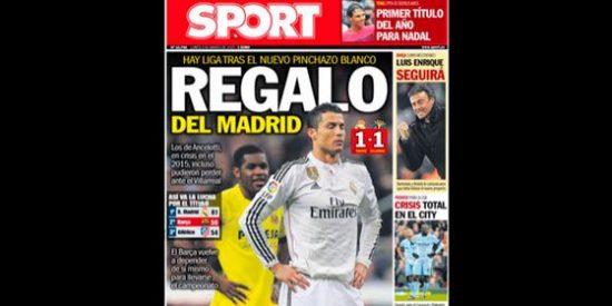 El 'Sport' se aprovecha del empate del Madrid y se la devuelve con su portada al 'Marca'