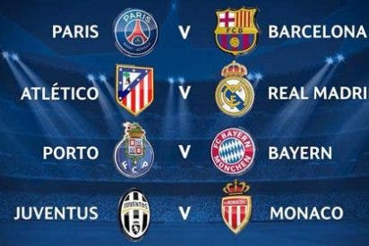 Real Madrid-Atlético y Barça-PSG, en los cuartos de final de la Champions League
