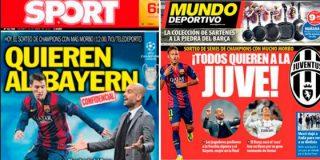 Sorteo de las semifinales de la Champions: Sport dice que el Barça quiere al Bayern, pero Mundo Deportivo asegura que se prefiere a la 'Juve'