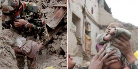 El milagro del bebé encontrado con vida bajo los escombros de un edificio en Nepal