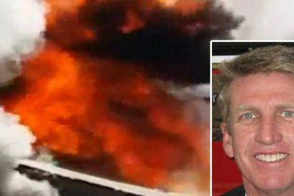 El escalofriante vídeo en el que un bombero atraviesa el techo de una casa ardiendo