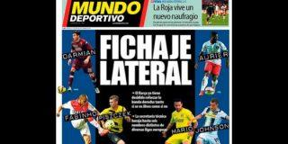 """Pedrerol deja tiritando la portada de 'Mundo Deportivo': """"Seis posibles candidatos para el carril derecho, y si fallan ¡es la leche! Periodismo de etiqueta"""""""