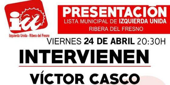 Este viernes, presentación de la candidatura de IU a la Alcaldía de Ribera del Fresno