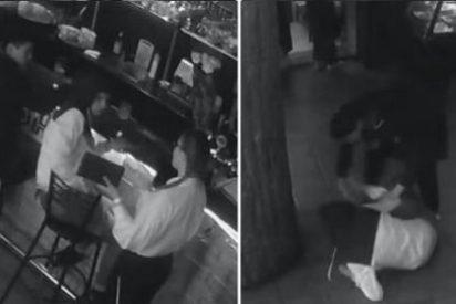 [Vídeo] La paliza que le da una camarera a un listo por tocarle el culo a traición