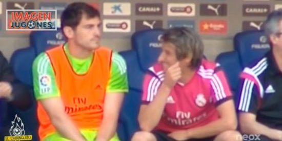 Coentrao, en el banquillo con Casillas, se lo pasa en grande con el error de Keylor Navas