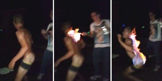 [Vídeo] Se rocía con desodorante el culo hasta arriba de alcohol y sus amigos le prenden fuego