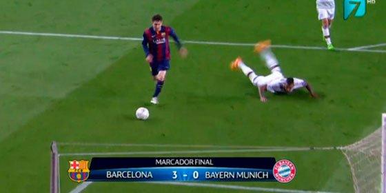 La cadera de Boateng, objeto de las mofas en las redes sociales tras quedar en el suelo por el recorte de Messi