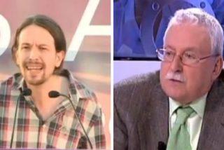 """Joaquín Leguina coge por la solapa a Pablo Iglesias: """"¿A este tipo, disfrazado de Manuela Carmena, le van a votar los madrileños?"""""""