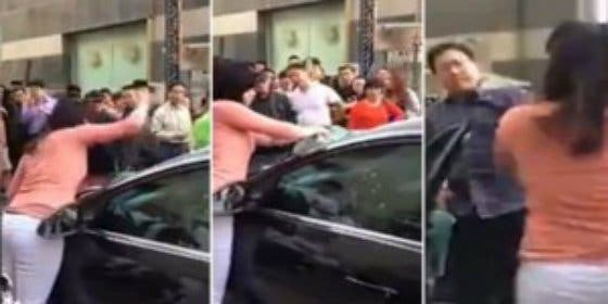 El vídeo de la china cornuda que destroza el coche del marido y le da de bofetadas