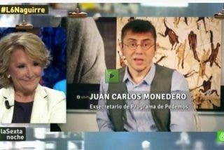 """Esperanza Aguirre sobre la marcha de Monedero: """"Volaré, oh, oh..."""", le canta en directo en televisión"""
