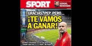 """Sport olvida que las portadas las carga el diablo: """"Gracias, Pep, pero ¡te vamos a ganar!"""""""
