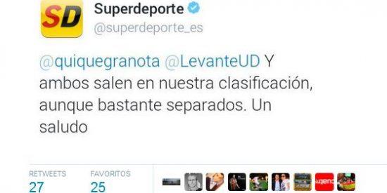 'Superdeporte' la vuelve a liar con un tuit desafortunado en contra del Levante y se ve obligado a pedir perdón