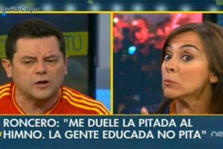 """Roncero se harta de los argumentos de Carme Barceló para defender la pitada al himno: """"Pues si no os gusta, idos"""""""