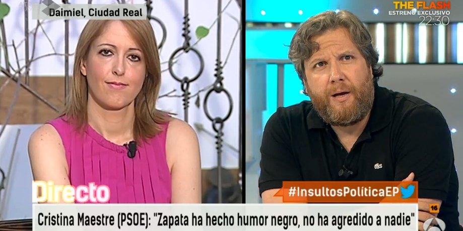 """Gistau mete el dedo en el ojo a Cristina Maestre por defender los tuits de Zapata como """"humor negro"""" y criticar los insultos hacia su persona"""