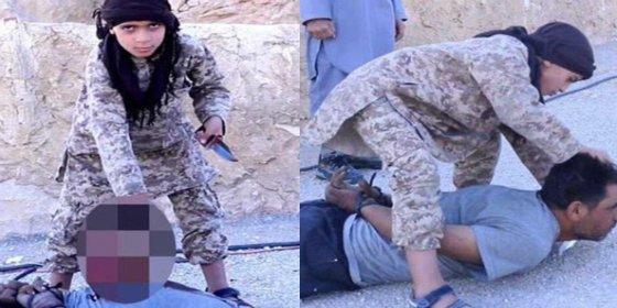 Verdugos infantiles: Un niño de 10 años entrenado para matar decapita a un soldado sirio