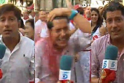 Duchan con calimocho y cerveza a un reportero de Ana Rosa antes del 'Chupinazo'