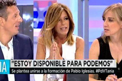 Los tertulianos de Telecinco le hacen la 'sillita de la reina' a Tania Sánchez tras ofrecerse a Podemos