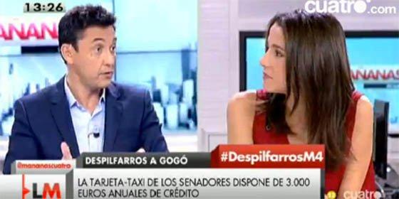"""Javier Ruiz se rebota con Inés Arrimadas tachándola de celosa por quejarse de un """"publi-reportaje"""" a Ramón Espinar en Cuatro"""