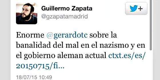 El 'antisemita' Guillermo Zapata vuelve a las andadas en Twitter y ahora con los nazis
