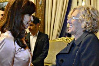 Manuela Carmena es agasajada en Argentina como una 'vieja amiga' por la corrupta Cristina Kirchner