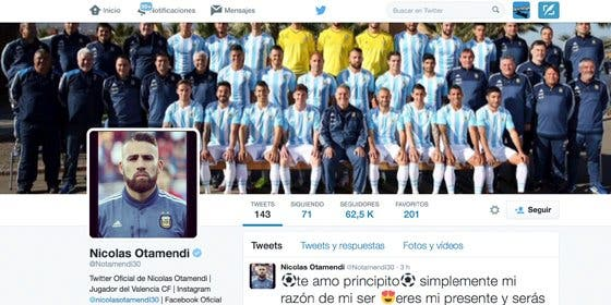 Nicolás Otamendi 'borra' al Valencia en Twitter