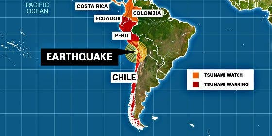Un terremoto de magnitud 8,4 desata la alerta de tsunami y deja al menos cinco muertos en Chile