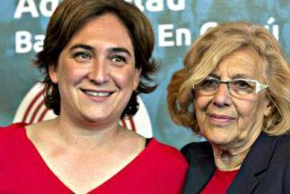 Manuela Carmena y Ada Colau dejan 'tirado' a Pablo Iglesias en su peor momento