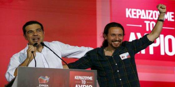 """Iglesias ruge de gusto por el """"león"""" Tsipras: """"Syriza representa el futuro"""""""