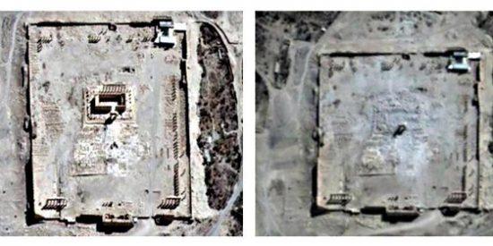 El satélite de la ONU prueba con imágenes que los facinerosos islámicos han destruido el gran templo de Bel