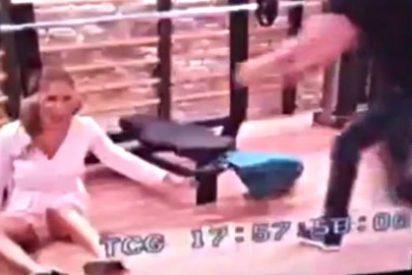 Patricia Conde se pega una tremenda 'leche' durante la grabación de 'Gym Tony'