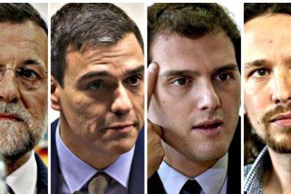 Ciudadanos pisa los talones a unos empatados PP y PSOE; Podemos se derrumba