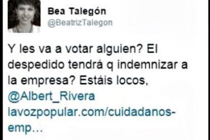 El tuit que 'croquetas' Beatriz Talegón tuvo que borrar a toda prisa tras la respuesta de Albert Rivera