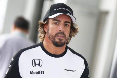 Fernando Alonso se retira en los entrenamientos libres en el Gran Premio de Brasil con su MP4-30 ardiendo