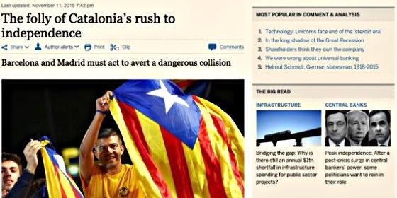 """El 'Financial Times' tilda de """"estupidez"""" el proceso independentista en Cataluña"""
