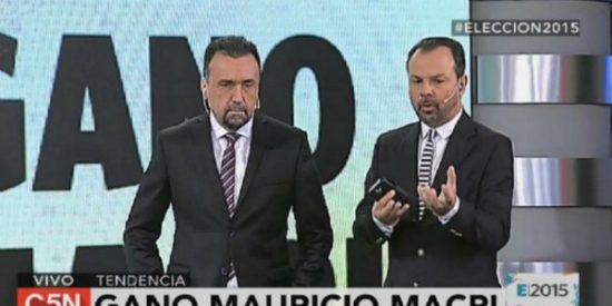 La cara que se le queda a un periodista kirchnerista al anunciar la victoria de Macri