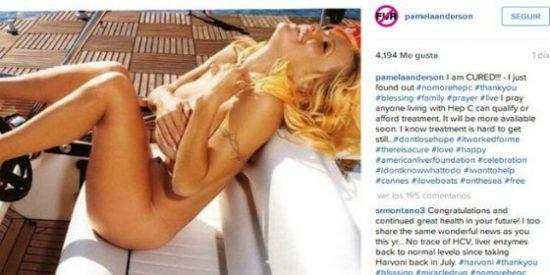 La foto de Pamela Anderson desnuda para anunciar una buena nueva