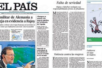 El País sigue empujando a Rajoy para que se tire a la piscina de la guerra