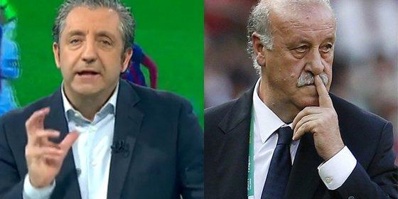 """Josep Pedrerol reprende a Del Bosque por decir que los que pitan a Piqué son """"jóvenes intoxicados"""": """"Vive en su mundo"""""""