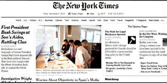 'The New York Times' subraya la falta de objetividad de los medios de comunicación en España